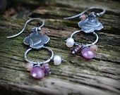 Secret Garden Earrings #3 - Sapphires, Pearls, Spinel, Peach Moonstone, Sterling Silver - OOAK- Benefiting Differently Abled Adults