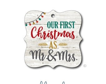 Our First Christmas As Mr. and Mrs. Ornament - Personalized Ornament - Monogrammed Ornament - Bridal Ornament - Just Married - Wedding Gift