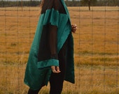 Vintage Emerald Teal Green Duster KIMONO JACKET with Sheer Black Panels Mod Futuristic