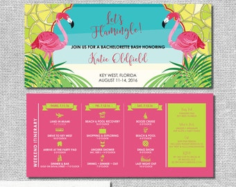 Flamingo Bachelorette Invitation with Itinerary - Let's Flamingle Limes Key West - Personalized Printable File or Print Pkg  #00179-PI10