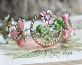 Pink Poppies~ assemblage bracelet floral one of a kind pink flowers vintage one of a kind