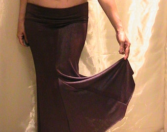 Bellydance trumpet skirt, mermaid skirt in silky dark maroon Lycra