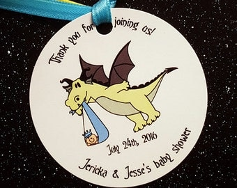 dragon stork fairy tale prince princess custom baby shower favor tags for either boy or girl with coordinating ribbon - set of 12