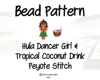 Seed Bead Hula Dancer Girl & Coconut Drink Pattern, Peyote or Brick Stitch, Hawaiian Theme| DIGITAL DOWNLOAD