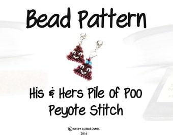 Pile of Poo Emoji Bead Patterns, His & Hers Charms, Seed Bead Weaving