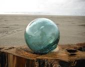 """Japanese Glass Fishing Float - 4"""" diameter, Teal Blue"""
