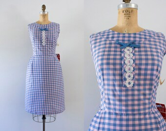1960s Lavender Fields plaid cotton dress / 60s oldstock