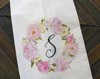Floral Monogram Kitchen Towel, bridal shower gift, engagement, wedding, Monograms and Mimosas
