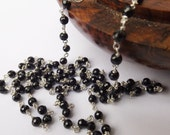 Black spinel necklace, spinel necklace, sterling silver, black beaded necklace, black gemstone, wear everyday, something special, modern