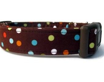 Polka Dot Dog Collar - Confetti on Chocolate