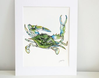 Blue Claw Crab Watercolor Print