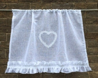 Shabby Chic Sheer White Linen Curtain, Heart Window Curtain, French Linen Cafe Curtain, European Style