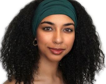 Head Band, Turban Headband, Yoga headband, Wide Headband, Exercise Headband, Forest Green 298-02a