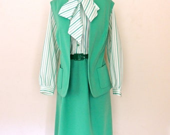SALE vintage tie-neck dress set - 1970s Lady Hardin seafoam/teal striped dress & vest set