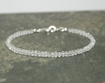 Clear Quartz Bracelet, Clear Quartz Jewelry, Wedding, Bridesmaid, Layering, Stacking, Gemstone Jewelry