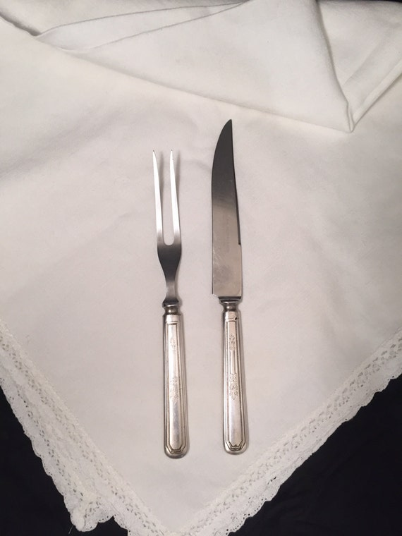 Hostess carving knife and fork set mayfair pattern wm