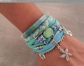 Seafoam Bracelet, Turquoise Bracelet, Gypsy Bracelet, Boho Bracelet Set, Summer Bracelet, Sea Star Bracelet, Sea Jewelry