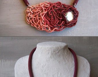 Bordeaux Necklace with Antique Pink, Free Shape Intricate Tube Necklace