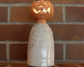 Ceramic Jack-o'-lantern Head Ghost Figurine in Orange and White, Raku Fired for Halloween Decoration Luminary Tea Light Holder