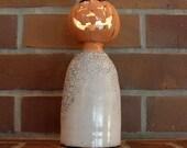 Ceramic Jack-o'-lantern Head Ghost Figurine in Orange and White, Raku Fired for Halloween Decoration Luminary Tea Light Holder