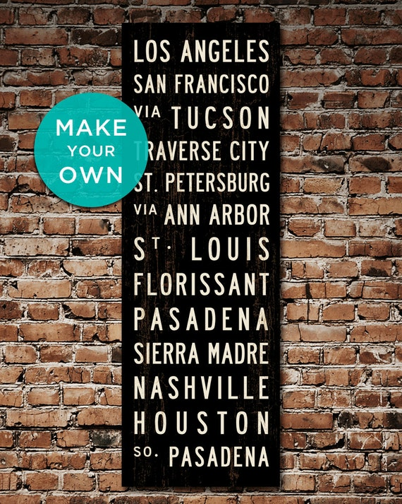 MAKE YOUR OWN Custom Subway Sign, Personalized Bus Scroll, Canvas Travel Poster, Transit Sign, Typography Word Art, Roll Sign. 20.5 x 60