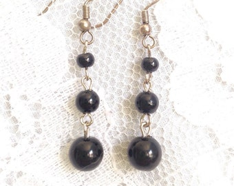 Black Polished Glass and Sterling Silver Polished Drop Bead Dangle Earrings - Mid Century Modern - Vintage Inspired