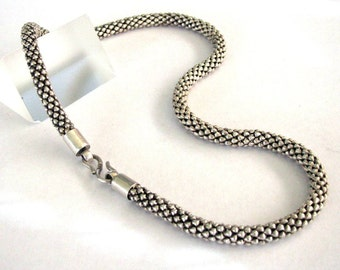 """Vintage Indonesian Diamond Wheat Link Chain Necklace, 7mm, Genuine, Heavy, Solid, High Grade Silver Chain, 63.5 Grams, (2.240oz.) 53cm (21"""")"""
