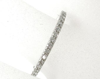 Diamond Band 14Kt, Micro Pave, Thin Diamond Band, Half Eternity, Wedding, Stackable, Promise, Anniversary, Shared Prong, Everyday ring