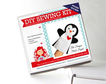 Penguin Puppet Sewing Kit, Felt Hand-Sewing Kit with PreCut Felt, Craft Felt Sewing Kit, Kid Sewing Kit, A1198