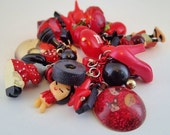 Toybox Charm Kawaii Bracelet Cherry Berry Black and Red Plastic Candy loaded harajuku Queen