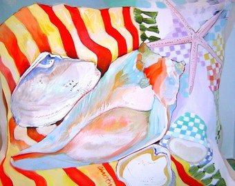 Summer at the Beach Abstract 17x17 Pillow Hand Painted Original - Beach Shells Colorful Checks and Stripes Beach Cottage Home Decor