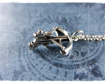 Silver Crossbow Necklace - Antique Pewter Crossbow Charm on a Delicate Silver Plated Cable Chain or Charm Only