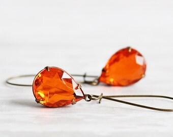 Orange Earrings, Rhinestone Drop Earrings, Antiqued Brass Hooks, Teardrop Earrings, Orange Dangle Earrings, Autumn Jewelry, Fall Accessories