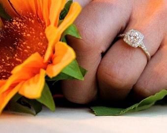 Vintage Inspired Diamond Halo Engagement Ring, 0.5ct diamond halo engagement ring, perfect proposal ring, 14K white, Diamond Halo ring