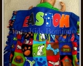 Baby fleece blanket - baby throw - stroller blanket - personalized receiving blanket - boy quilt - dog themed