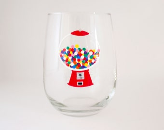Nostalgic Gum Ball Machine - Hand Painted Wine Glass - Unique Dinnerware Gift