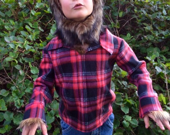 werewolf halloween costume kids costume hood boys costume girls costume hood and plaid shirt - Wolf Halloween Costume Kids