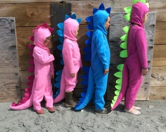 Dinosaur Halloween Costume Pink Dino and Blue Dino kids costume full suit with long tail, spines and hood for boys, girls, toddler, children