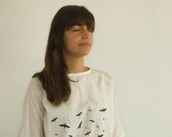 2 Layers Woman Shirt, print- flock of birds, Soft 100% Cotton, Black, White, Delicate, Cool, Loose.