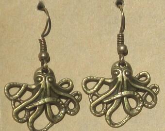 Steampunk Octopus Earrings Silver or Brass