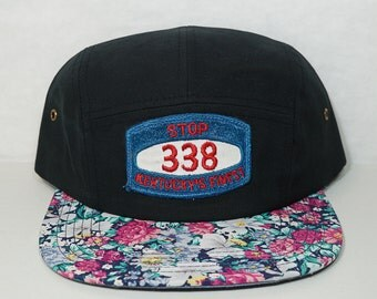 Kentucky's Finest Patch on New 5 Panel Hat Floral and Black Route 338