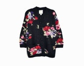 Vintage 90s Floral Granny Cardigan Sweater / Black Floral Sweater - women's small (oversized)