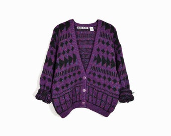 Vintage 90s Purple Arrow Cardigan / Oversized Sweater - medium
