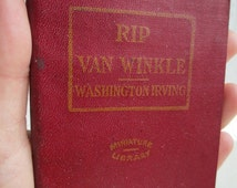RIP VAN WINKLE and Other Tales by Washington Irving - Miniature Book Little Leather Library 1920s Antique Vintage