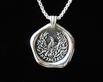 INVINCIBLE, Phoenix necklace phoenix pendant Sterling Silver pendant sterling silver wax seal necklace phoenix jewelry N-210