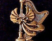 Crystal Angel Harp Music Instrument Pin Brooch Gold Tone Vintage Jane Flowing Gown Tied Bow Swirl Lined Wings