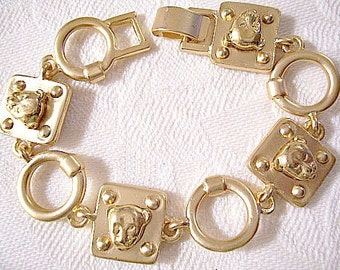Lion Animal Bracelet Gold Tone Vintage Satin Round Rings Square Links Raised Heads Beads Foldover Clasp