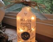 Wine Bottle Lights,  family, sister gift, friend, lamp, lamps, wine bottle lamp, lamps, lamp, accent lighting, lighted bottles, wine decor