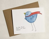 Father's Day Superhero Birdie Card - To Dad, From Daughter or Son