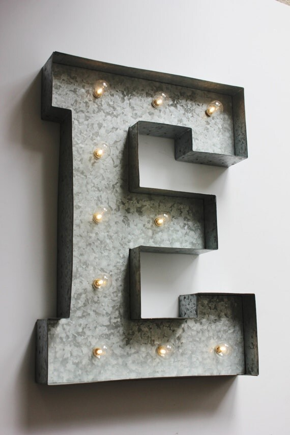 handpainted marquee letter large distressed galvanized With galvanized light up letters
